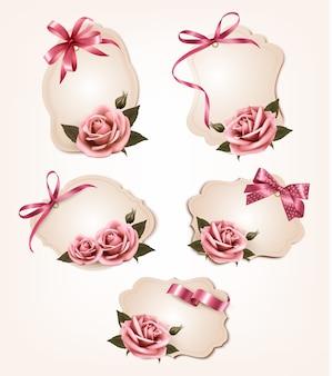 핑크 장미와 복고풍 인사말 카드의 컬렉션입니다.