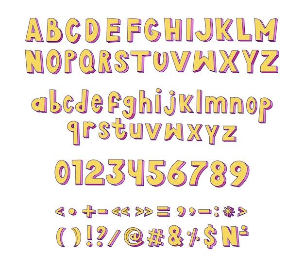 レトロなラテン文字の数字と句読点のコレクション