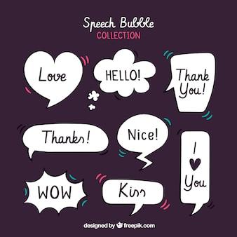 レトロスタイルのスピーチのコレクションは、メッセージと泡