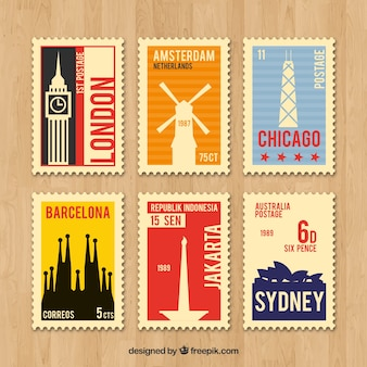 Collection of retro travel stamps