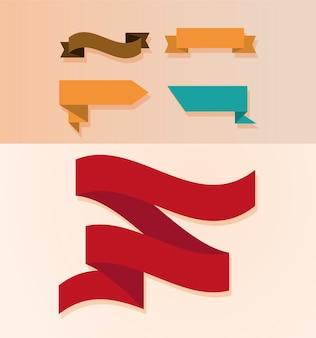 リボンのコレクションは、さまざまな形を飾ります