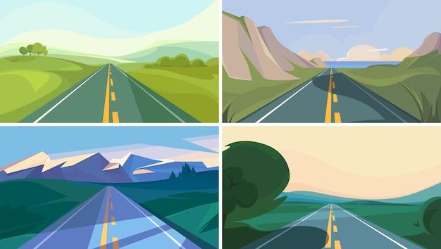 地平線に入る道路のコレクション。美しい屋外シーン。