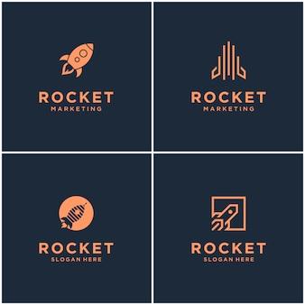 로켓 모노그램 로고 디자인의 컬렉션입니다. 우주 로켓 발사 추상 절연