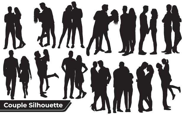 さまざまなポーズでロマンチックなカップルのシルエットのコレクション