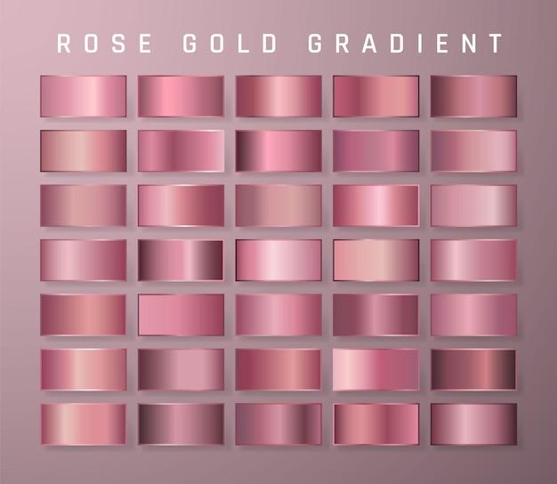 ローズゴールドメタリックグラデーションのコレクション。金色の効果のある鮮やかなプレート。