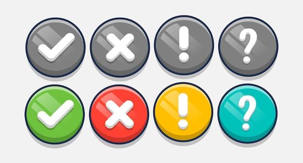 마무리, 오류, 물음표, 느낌표 디자인 템플릿이있는 둥근 버튼 모음