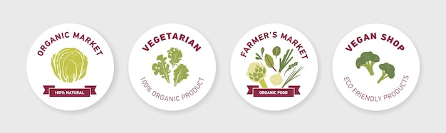 흰색 바탕에 녹색 야채, 신선한 샐러드 잎, 향신료 허브가 있는 원형 레이블, 태그 또는 스티커 템플릿 모음
