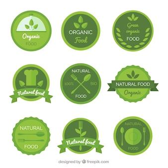 녹색 톤의 라운드 유기농 식품 스티커 컬렉션