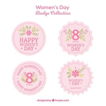 Коллекция круглых розовых женских значков