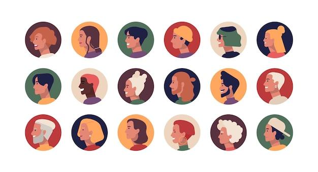 若くて年配のスタイリッシュな男性と女性の丸いプロフィールの肖像画のコレクション