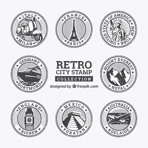 Collection of round retro stamps with landmarks
