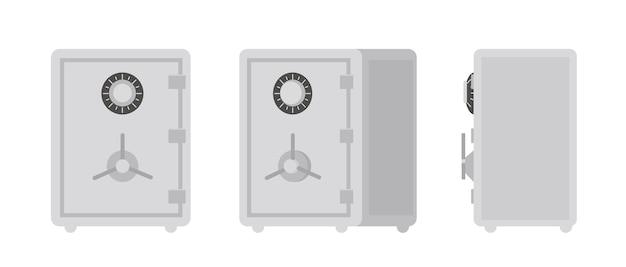 白で隔離された金庫またはストロングボックスのコレクション