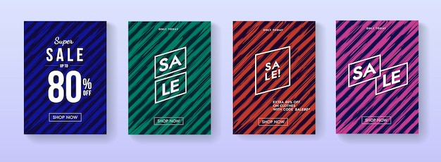 판매 배너 플래카드의 컬렉션입니다. 추상적인 프로 모션 포스터 세트입니다.