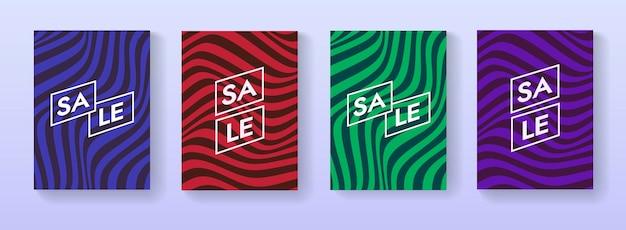 판매 배너 벡터 디자인의 컬렉션입니다. 추상 줄무늬 물결 모양의 프로 모션 포스터 세트입니다.