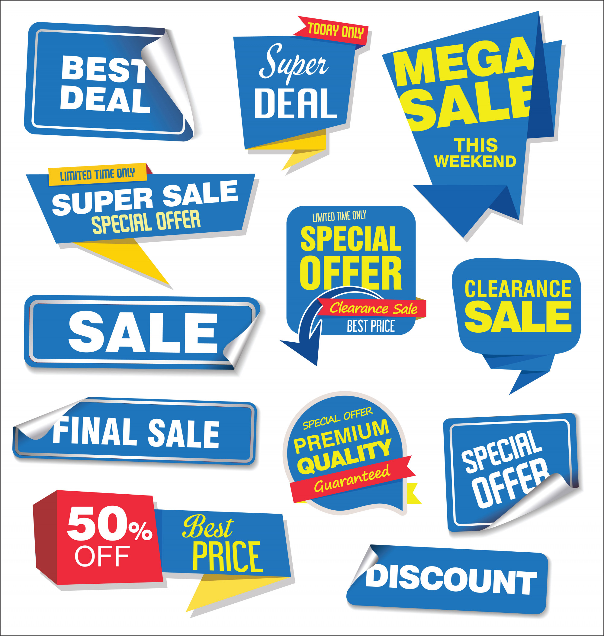 Collection of sale stickers and tags origami design