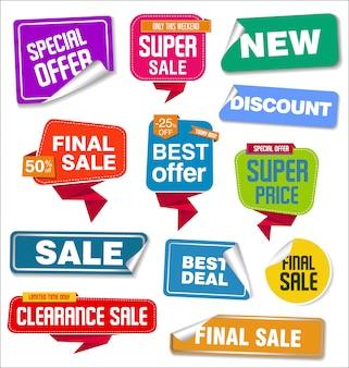 판매 스티커 및 태그의 컬렉션