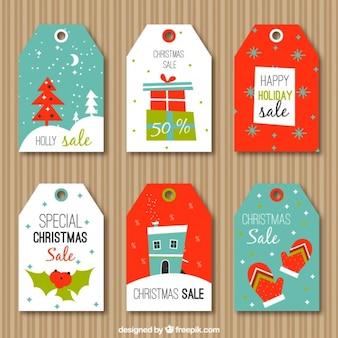 クリスマスの要素を持つ販売タグのコレクション