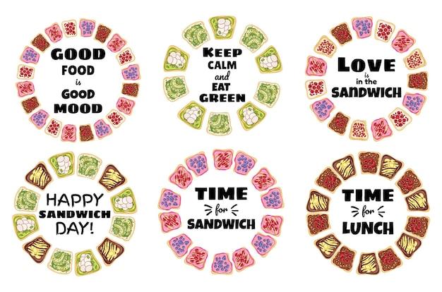 サンドイッチポスターリースのコレクション。トーストパンサンドイッチ健康ポスター。朝食または昼食のビーガンフード。ストックベジタリアンスナックプリント