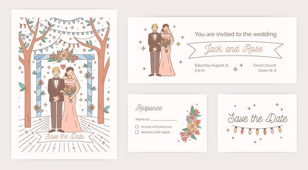 白い背景の上の漫画の花嫁と新郎との日付カード、結婚披露宴の招待状と応答メモのテンプレートのコレクション。現代の線画スタイルのカラフルなベクトルイラスト