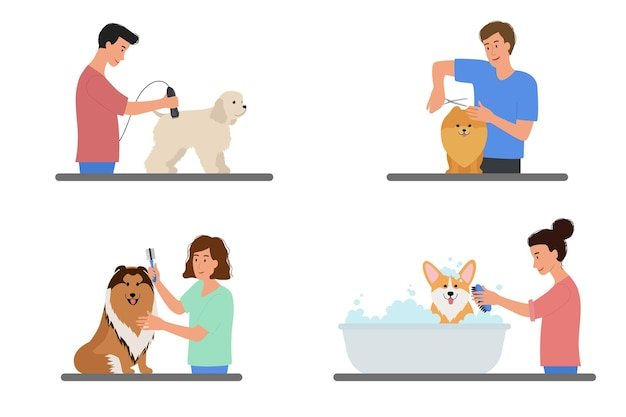 犬の毛づくろいをしている人々とのシーンのコレクション。ペットの世話、毛皮の切断、洗濯の男女。家畜の美容院。白い背景で隔離のフラットベクトルイラスト。