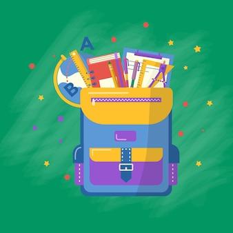 Коллекция школьных принадлежностей в рюкзаке, книге, блокноте, ручке, рюкзаке, линейке, книгах, глобусе. вектор обратно в школу с канцелярскими принадлежностями. офисные принадлежности.