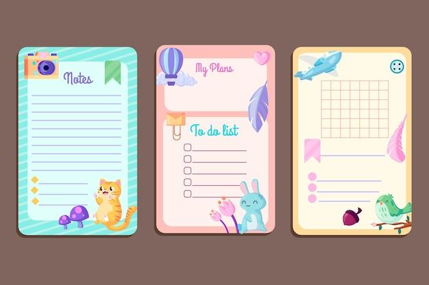スクラップブックのノートとカードのコレクション