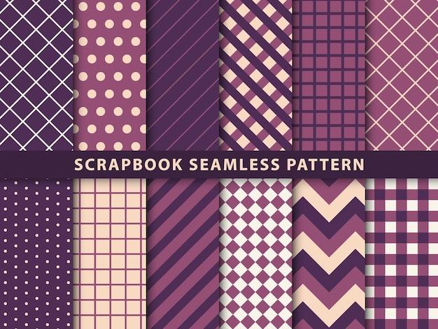 スクラップブックのシームレスなパターンのコレクション