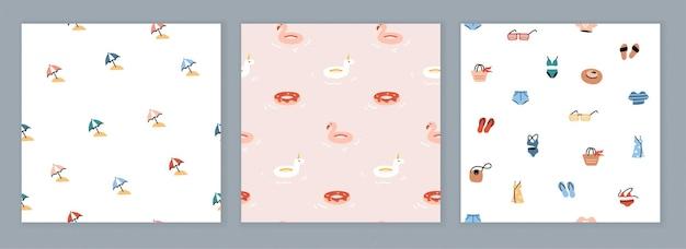 Коллекция бесшовных дизайнов с летними иконами. модные узоры с простыми красочными иллюстрациями. плоский рисунок