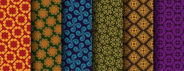 シームレスな装飾的な民族パターンのコレクション