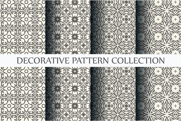 Коллекция бесшовных орнаментов с минимальным черно-белым цветом