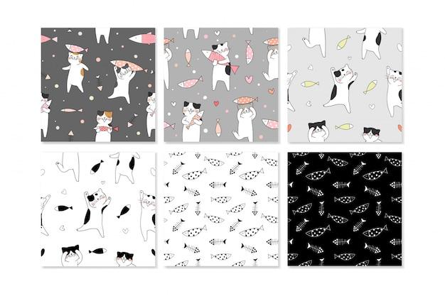 かわいい猫とのシームレスなパターンのコレクション。