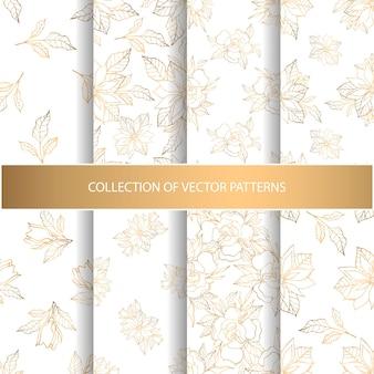 金色の花の要素を持つシームレスなパターンのコレクション