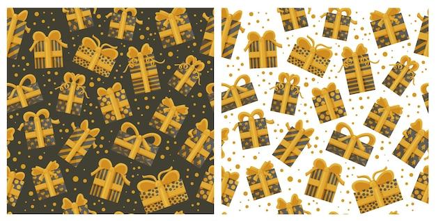 金色のギフトボックスとシームレスなパターンのコレクション。