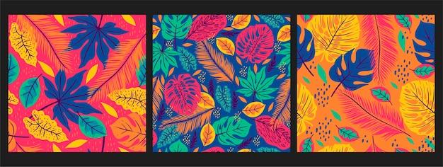 Коллекция бесшовных паттернов с тропическими листьями