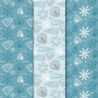 シームレスな貝殻パターンのコレクション