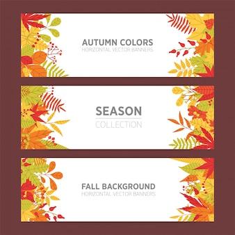 明るい色の秋の木の葉または色鮮やかな紅葉と白い背景とテキストのための場所の枝の季節の水平方向のバナーテンプレートのコレクション。自然なイラスト。