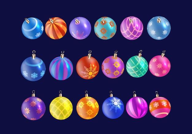 パターン、雪片で輝くリアルなクリスマスボールのコレクション。クリスマスのガラス玉。休日の装飾。