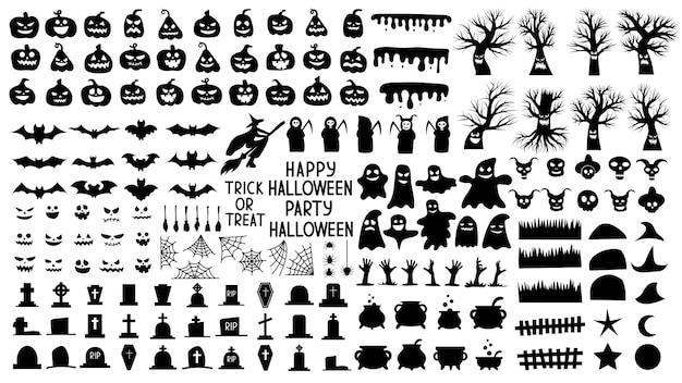 소름 끼치는 호박과 무서운 나무와 유령이 있는 할로윈을 위한 실루엣 모음입니다. 할로윈 휴가의 밤을 위한 흑백 개체 세트. 벡터 일러스트 레이 션.