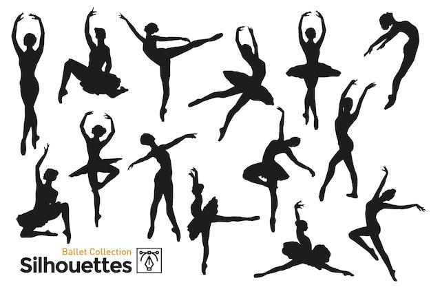 Коллекция силуэтов женщин, танцующих балет. изолированные силуэты.