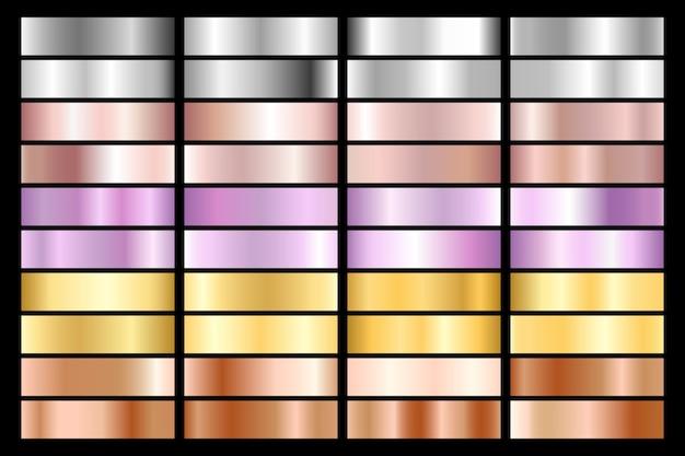 실버, 크롬, 골드, 로즈 골드 컬렉션. 청동 금속 및 자외선 그라데이션.