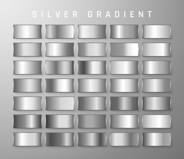 シルバー、クロームメタリックグラデーションのコレクション。シルバー効果のある鮮やかなプレート。
