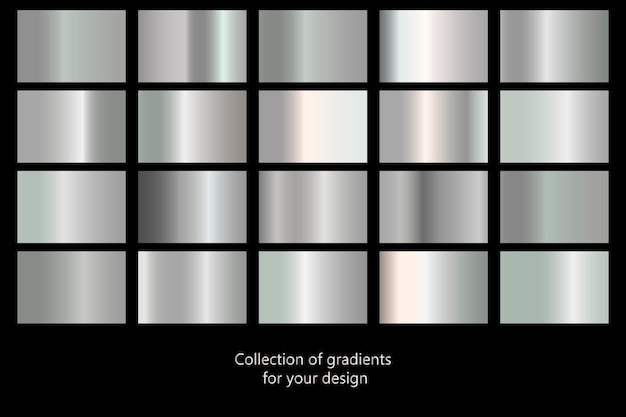 銀のグラデーションの背景のコレクション。銀の金属のテクスチャのセット。ベクトル図