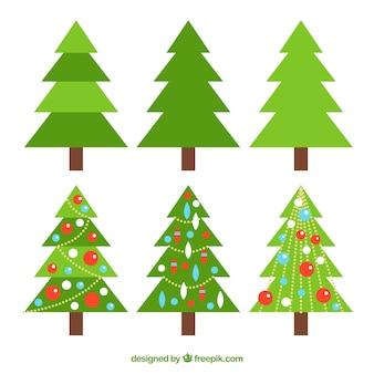 飾りシンプルでクリスマスツリーの集合