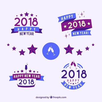 Collection of simple new year badges in blue and lilac colours