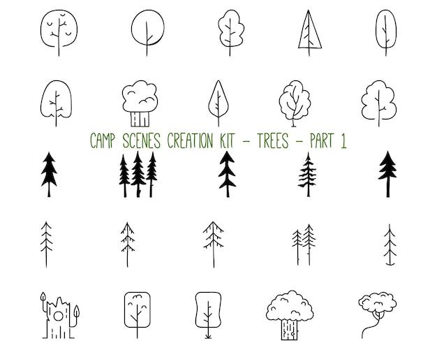 자연과 캠핑 컨셉 디자인을 위한 다양한 모양의 나무를 나타내는 윤곽선 그래픽 요소의 간단한 벡터 삽화 모음입니다. 1 부
