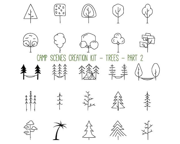 자연과 캠핑 컨셉 디자인을 위한 다양한 모양의 나무를 나타내는 윤곽선 그래픽 요소의 간단한 벡터 삽화 모음입니다. 2 부