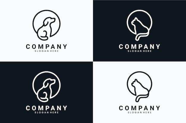 座っている犬と猫のコレクション、ロゴデザインのインスピレーション