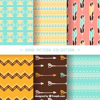 自由奔放に生きるスタイルの6つの装飾的なパターンのコレクション