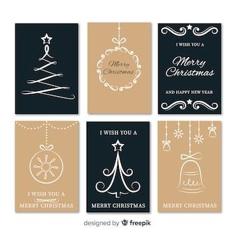 6つのエレガントなクリスマスカードのコレクション