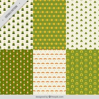 セントパトリックデーのための6つのフラットパターンのコレクション